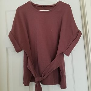 Short sleeve, knot front blouse